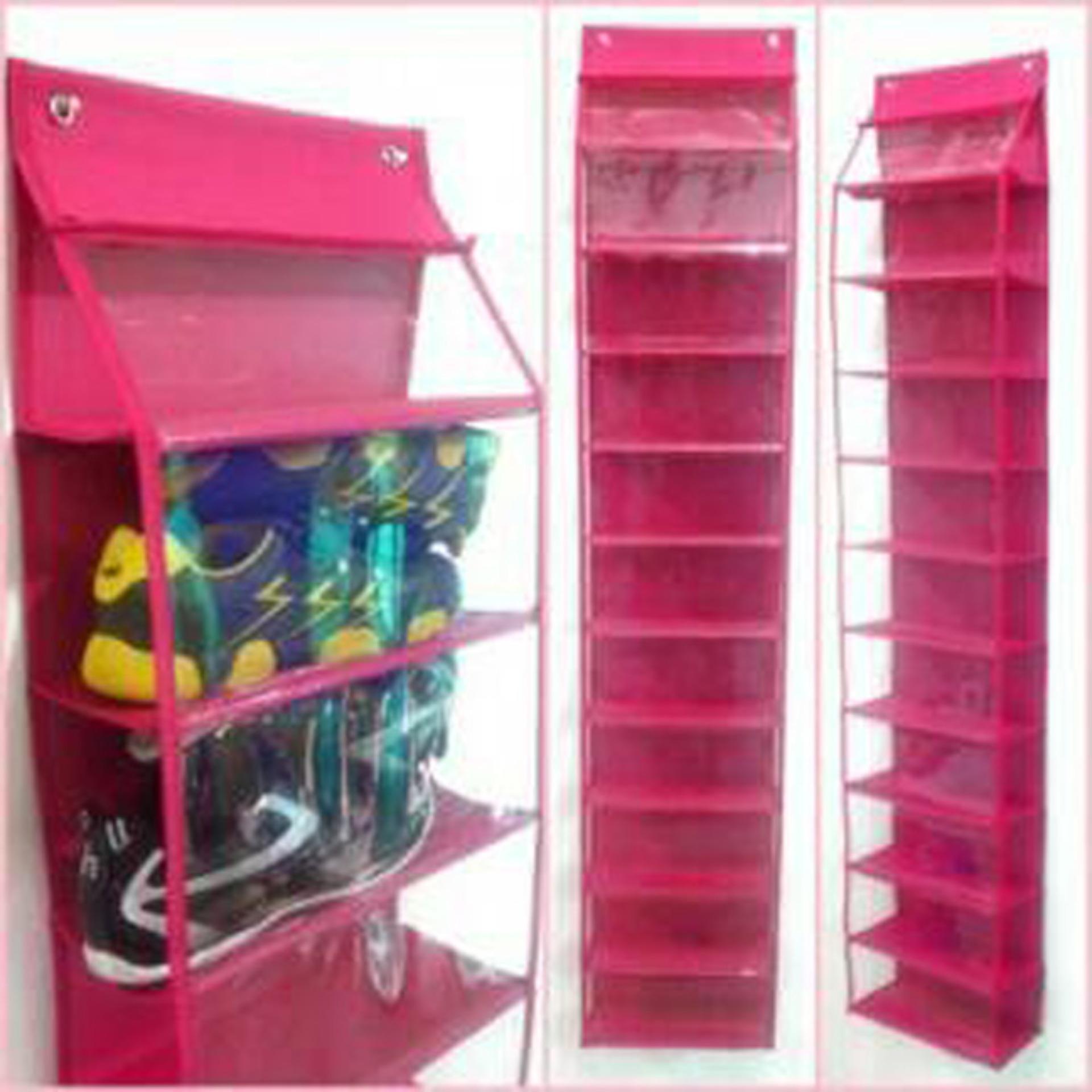 Jual Emwe Hso Rak Sepatu Gantung Terbuka Tanpa Resleting Hanging Shoes Organizer No Zipper 11 Sekat Shoe Case Sandal Hot Pink Original