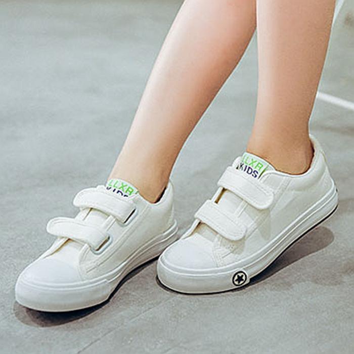Cuci Gudang Enam Puluh Satu Sepatu Kets Putih Anak Kanvas Sepatu Gadis Sulap Stiker Kebugaran Akan
