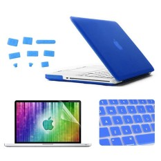 Enkay 4 Dalam 1 Beku Cangkang Keras Plastik Kasus Pelindung dengan Pelindung Layar dan Keyboard Menjaga dan Anti-debu steker untuk MacBook Pro 13.3 Inci (Gelap Biru) -Internasional