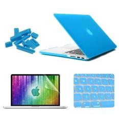 Enkay 4 In 1 Frosted Cangkang Keras Casing Pelindung Plastik dengan Pelindung Layar dan Pelindung Keyboard dan Anti Sumbat Debu untuk Retina MacBook Pro 15.4 Inch (Biru) -Intl