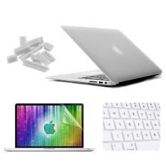 Enkay untuk Macbook Udara 11.6 Inch (Versi Sebagai) /A1370/A1465 4 Dalam 1 Beku Cangkang Keras Plastik Pelindung Kasus dengan Layar Pelindung & Keyboard Menjaga & anti-debu Plugs (Putih) -Internasional