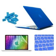Enkay untuk Macbook Udara 13.3 Inch (Versi Sebagai) 4 Dalam 1 Beku Cangkang Keras Plastik Kasus Pelindung dengan Pelindung Layar dan Keyboard Menjaga dan Anti-debu Plugs (Gelap Biru) -Internasional