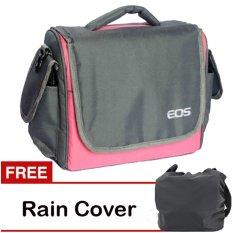 Eos Tas Kamera Canon 2 Lensa - Pink + Gratis Rain Cover