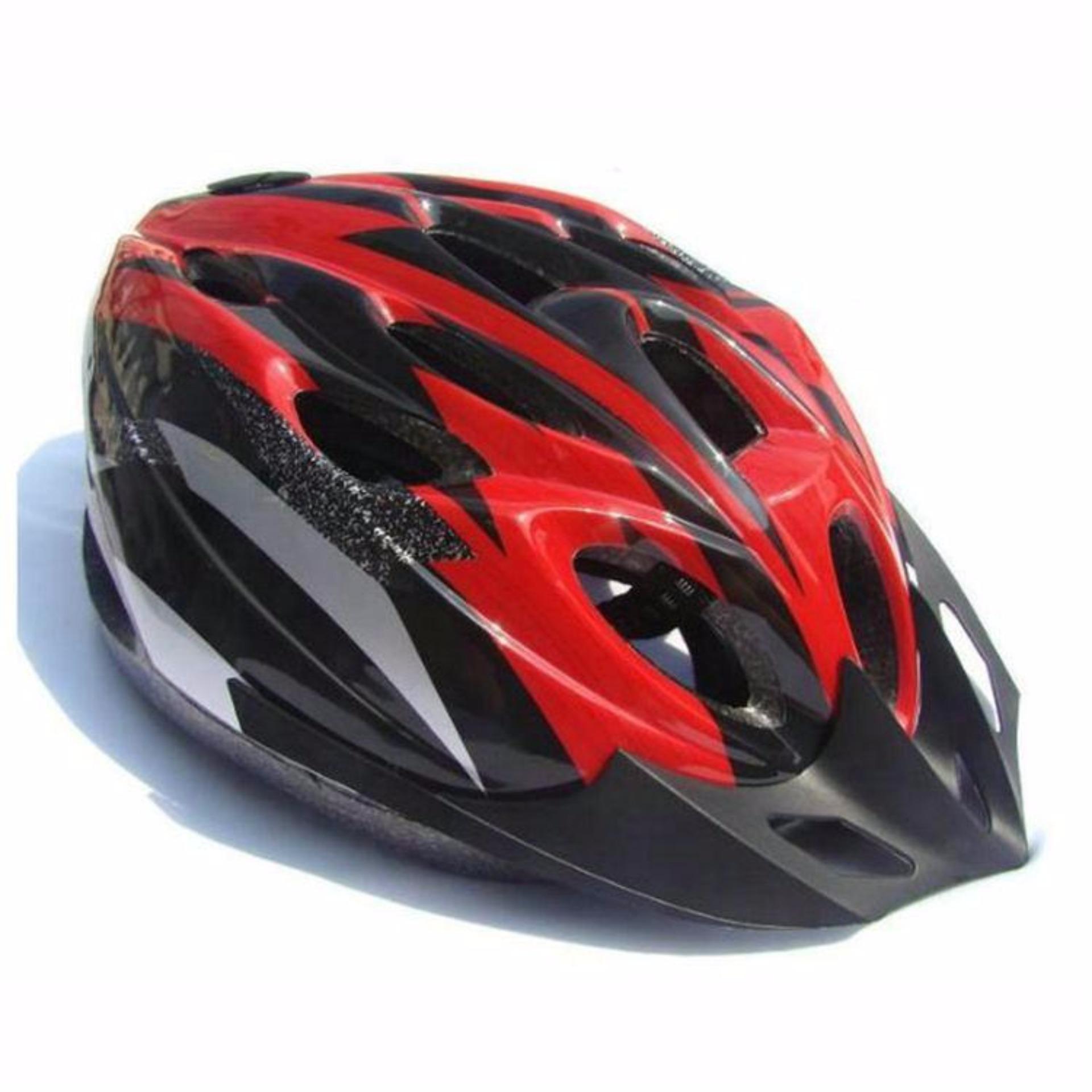 EPS Cycling Helmet EPS Foam PVC Shell - x31 - Merah-Hitam
