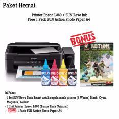 Epson Printer L360 (Print, Scan, Copy) - SUN Revo Smart Ink 100ml (BCMY) BONUS SUN N.G Photo Glossy Paper A4