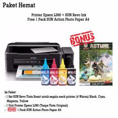 Epson Printer L360 Sun Revo Ink Bonus Photo Paper A4