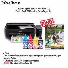 Epson Printer L380 (Print, Scan, Copy) - SUN Revo Smart Ink 100ml (BCMY) BONUS SUN N.G Photo Glossy Paper A4