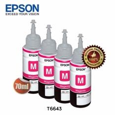 Epson Tinta Botol Set Original T6643 Magenta 4Pcs Diskon Akhir Tahun