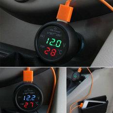 Era 3 In 1 12 V 24 V Mobil Interior Thermomenter Temp Usb Charger Tegangan Gauge Meter Green Diskon Akhir Tahun