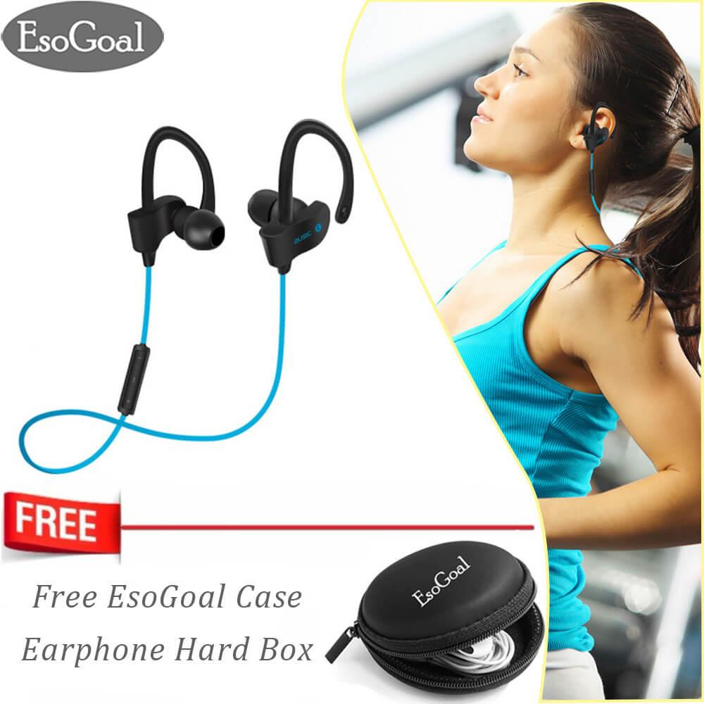 EsoGoal Bluetooth Wireless Headphone Olahraga Workout Telinga Tunas Gym Di Telinga Headset Berlari Earphone Tahan Keringat