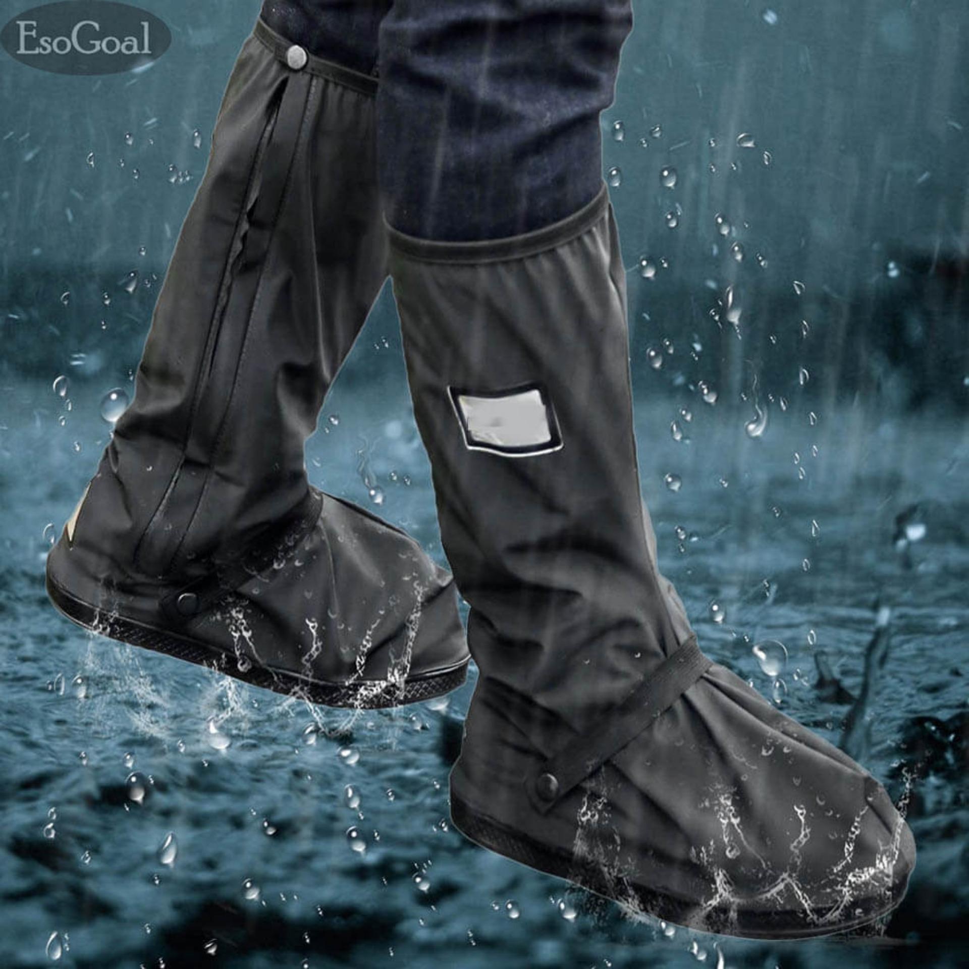 Jual Beli Esogoal Long Black Anti Slip Waterproof Sepatu Boot Hujan Cover Overshoes Dengan Tali Elastis Untuk Wanita Pria 1 Pair