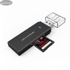 EsoGoal MICRO USB 3.0 SD Card Reader, Universal 3 Port Eksternal Multi Pembaca Kartu Memori Berkecepatan Tinggi dengan SDHC/T-Flash (TF) /MS DUO/M2 Port untuk PC Laptop Mac (Hitam)-Intl