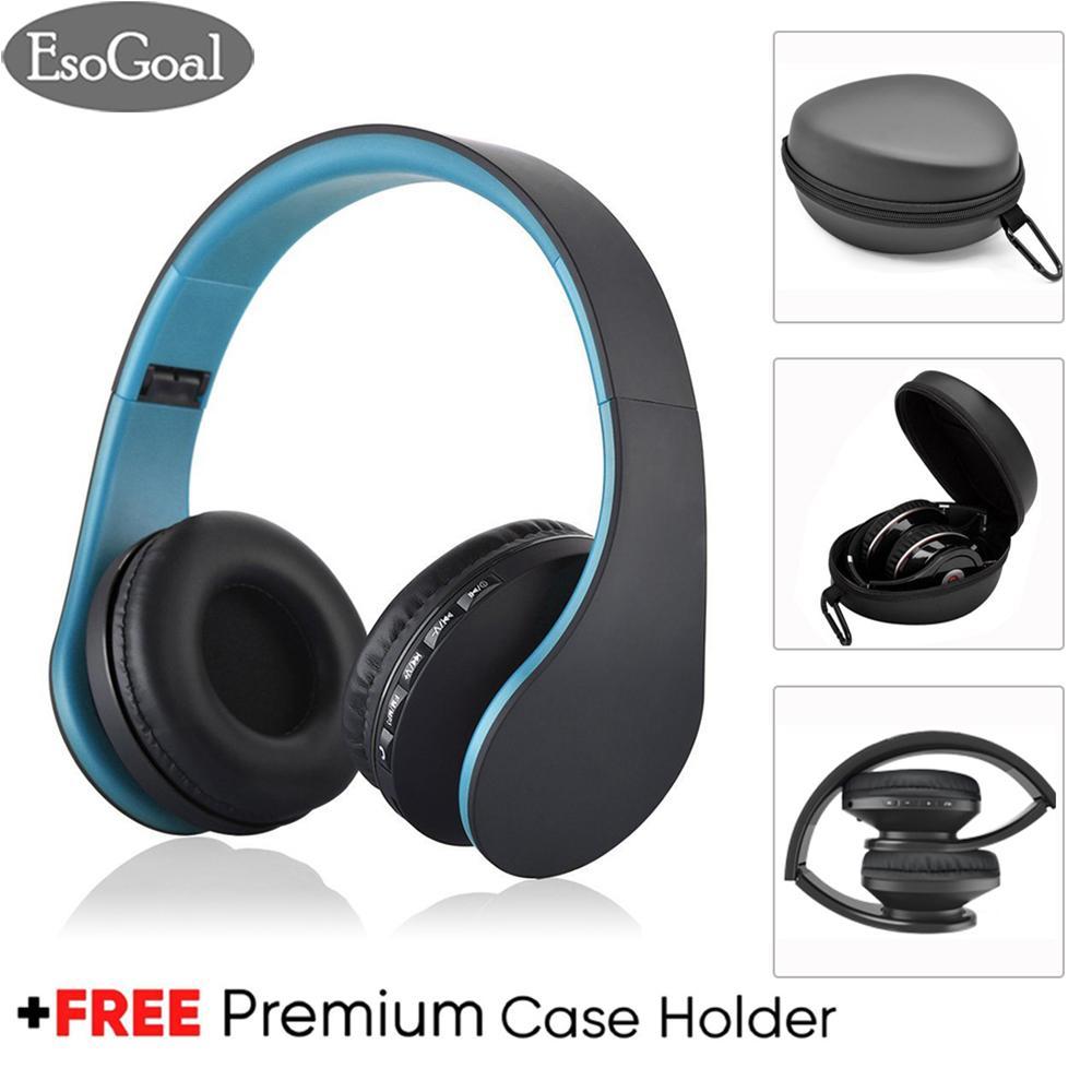Harga Esogoal Nirkabel Bluetooth Headphone Foldable Headset Dan Hard Storage Storage Travel Pouch Kotak Kebisingan Isolasi Atas Telinga Earphone Dengan Mic Gratis Carabiner Baru Murah