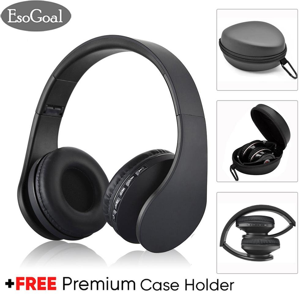 Esogoal Nirkabel Bluetooth Headphone Foldable Headset Dan Hard Storage Storage Travel Pouch Kotak, Kebisingan Isolasi Atas Telinga Earphone Dengan Mic, Gratis Carabiner By Esogoal.