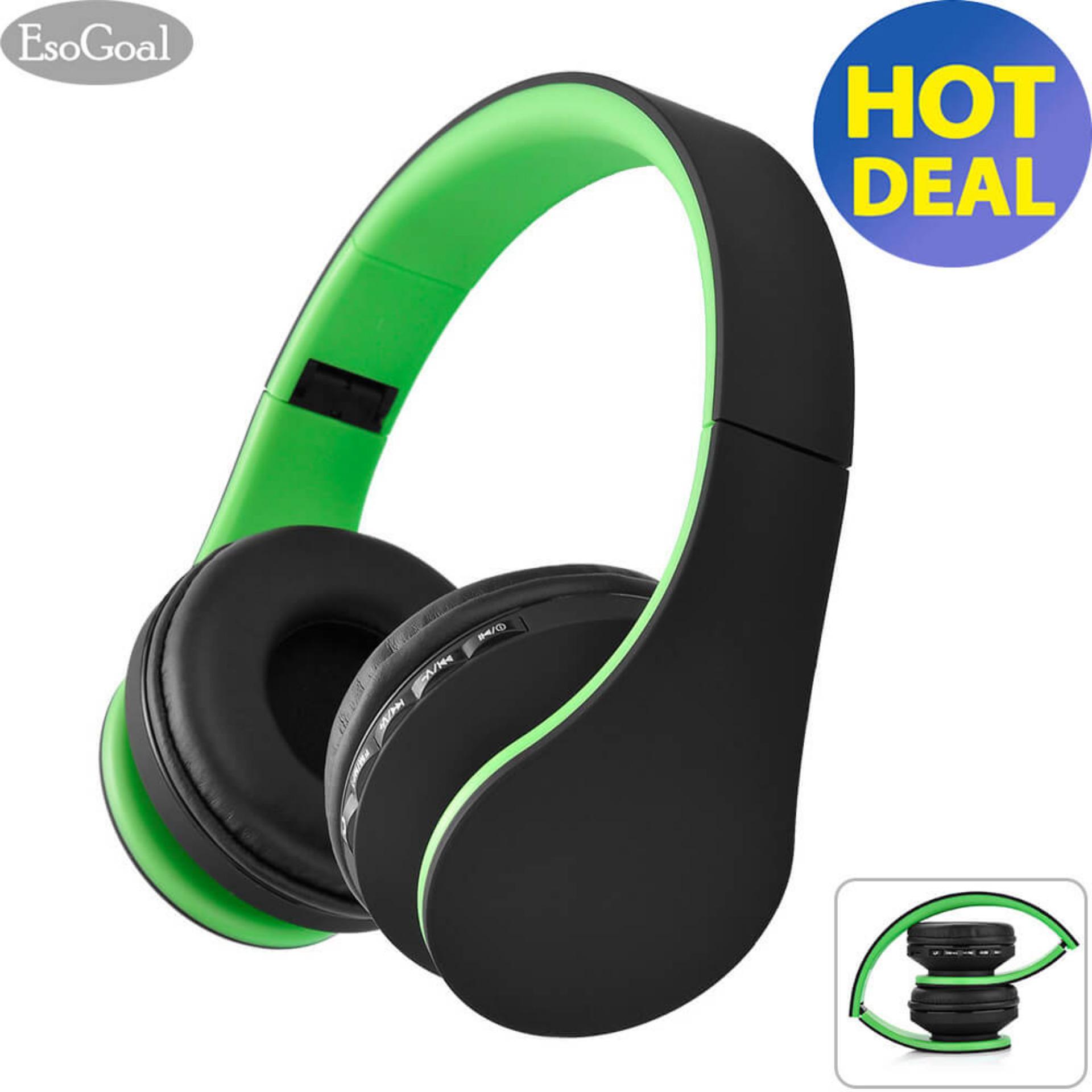 Jual Esogoal Nirkabel Bluetooth Headphone Foldable Headset Kebisingan Isolasi Atas Telinga Earphone Dengan Mic Hijau Hitam Esogoal Di Tiongkok