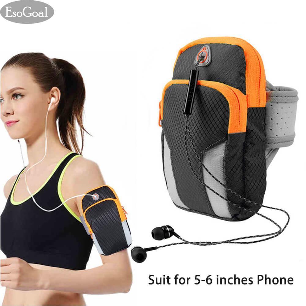 EsoGoal Olahraga Armband, pria/Wanita Running Bag Lengan Tas Pinggang Pouch Armbag Leher Pouch Pack untuk  Bag untuk Menjalankan, bersepeda, Hiking, Berkemah, Perjalanan, Latihan Hitam (Sesuai untuk 5-6 Inches Telepon)
