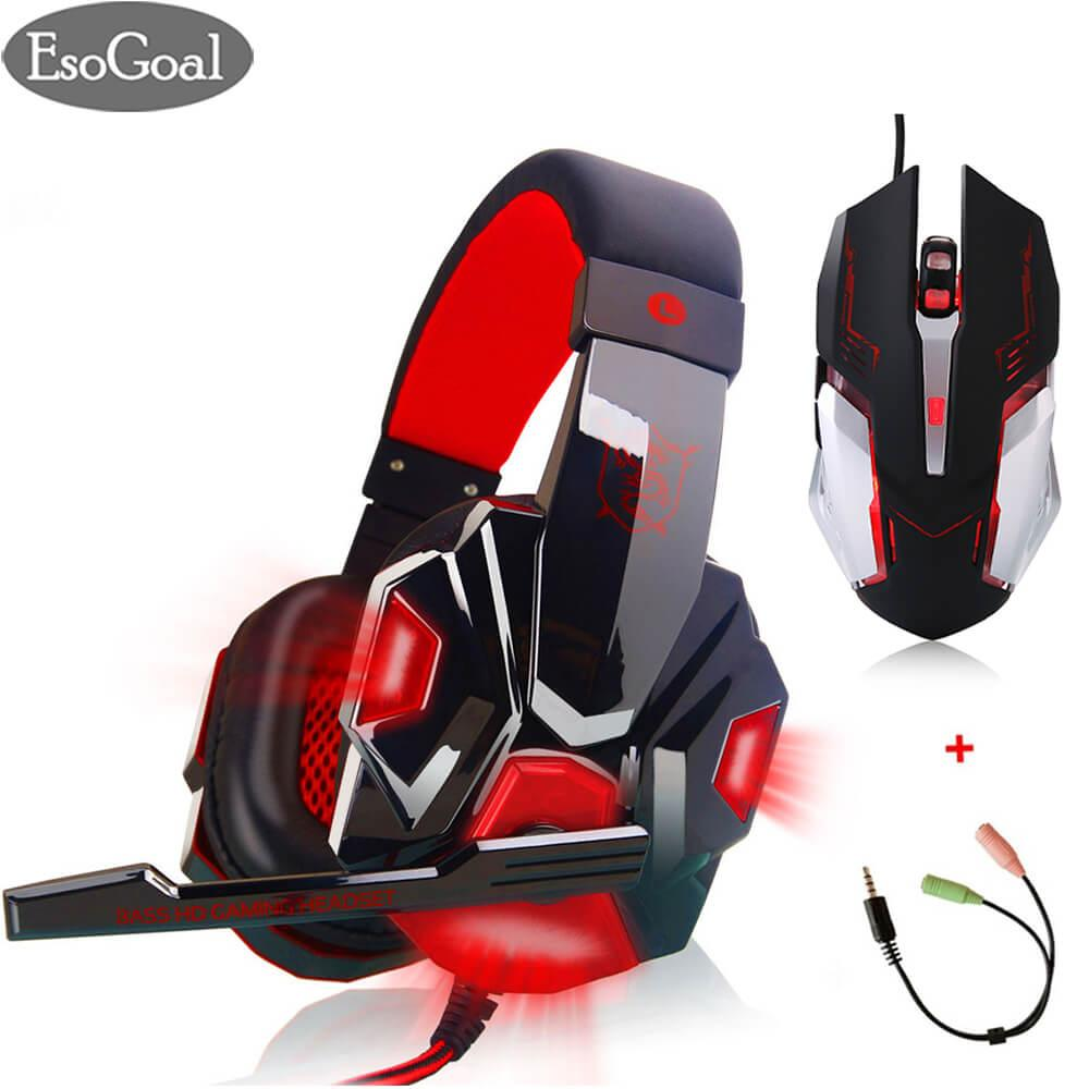 Toko Esogoal Permainan Headset Wired Gaming Workout Headphone Sport Earphone Dan Usb Gaming Mouse Optik Wired Permainan Mice Dengan Splitter Kabel Esogoal Di Tiongkok