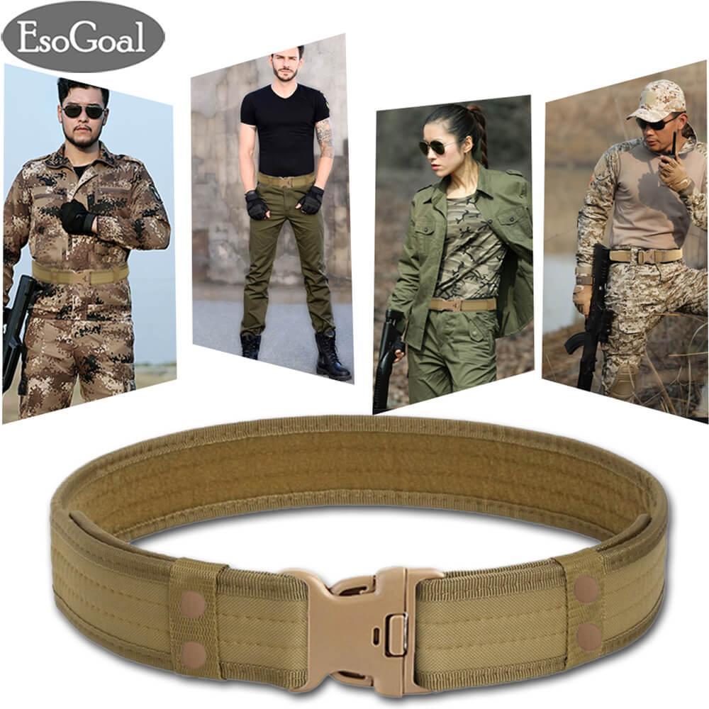 Esogoal Sabuk Tempur Taktis Utilitas Gear Adjustable Heavy Duty Polisi Militer Peralatan Dengan Side Release Buckle Khaki Original
