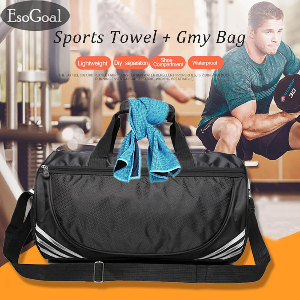 Cuci Gudang Esogoal Tas Olahraga Dan Handuk Pendingin Duffle Bag Termasuk Kompartemen Sepatu Pendingin Handuk Dingin Untuk Olahraga Fitness Gym Yoga Pilates Travel Camping Lainnya