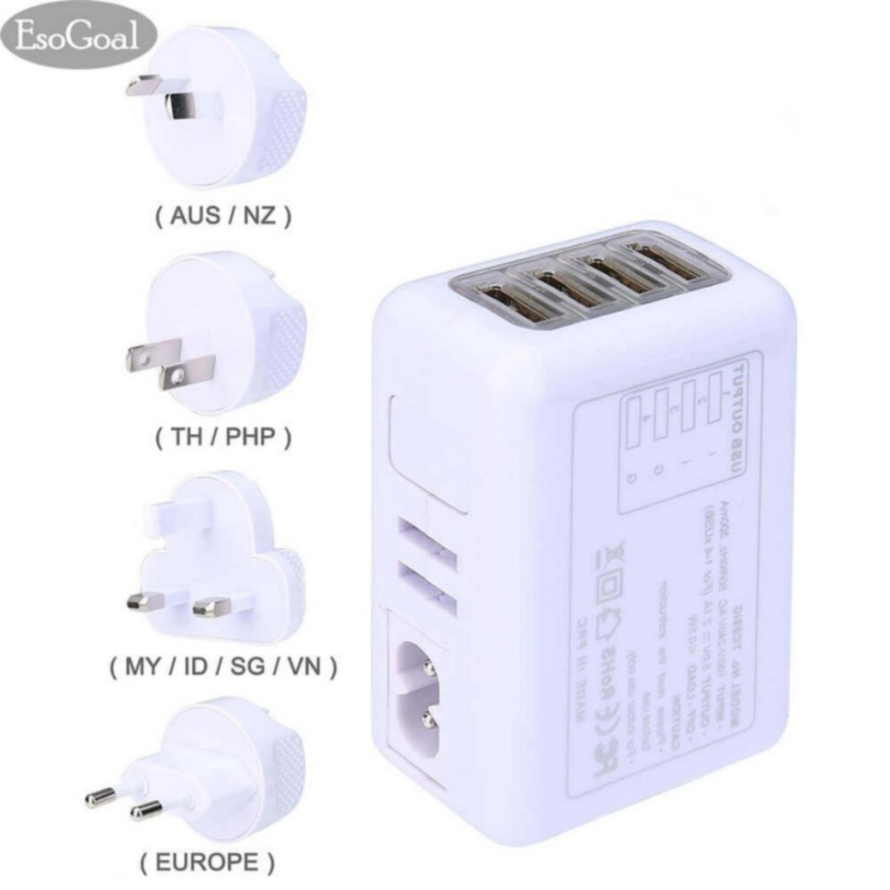 Beli Esogoal Usb Internasional Travel Adapter Universal 4 Port Plug Power Charger Putih Cicil