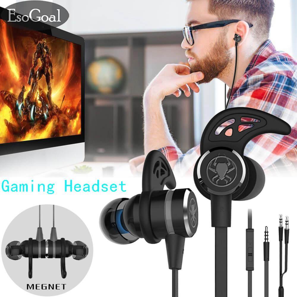 Harga Esogoal Wired Magnet Earphone Kebisingan Membatalkan Stereo Bass Gaming Headphone Dengan Mic 3 5Mm Hifi Earbud Dengan Kabel Ekstensi Dan Pc Adaptor Untuk Pc Laptop Dan Ponsel Murah