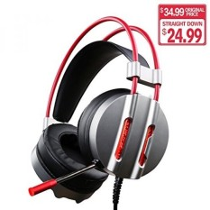 ET Robot Gaming Headset dengan MIC Kebisingan Pengurangan Game Earphone 7.1 Surround Sound Merah LED Lighting (Ruang Grey) -Intl