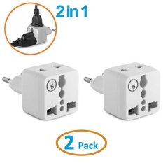 Adaptor Steker Eropa Oleh Yubi Power 2 In 1 Universal Travel Adaptor dengan 2 Universal Outlet-2 Pack- Putih-TYPE C untuk Eropa, Prancis, Jerman, Rusia, Spanyol & Lebih-Intl