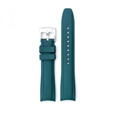 Everest Green Curved End Rubber Watchband w/ Buckle for Rolex Sports Models