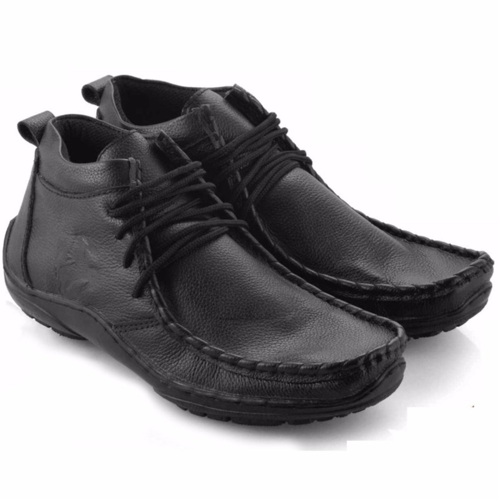 Everflow Sepatu Casual Pantofel Boots Pria Leather Black Everflow Diskon 40