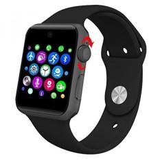 Evershop Bluetooth SmartWatch 2.5D ARC HD Layar Penopang SIM Kartu Wearable Perangkat Smartphone Kebugaran Tracker untuk IOS Android (HITAM) -Intl