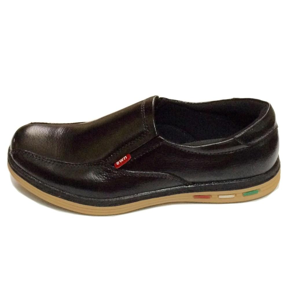 Ulasan Lengkap Ewn Sepatu Slip On Casual Pria Sepatu Kulit Asli Hitam