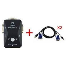 Excelity2 Port VGA USB2.0 Manual KVM Switch Box PC Monitor Konsol untuk Komputer Keyboard Mouse dengan 2 VGA Adaptor- INTL