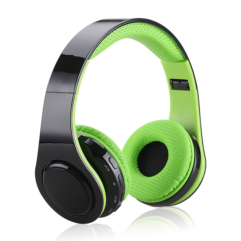 Jual Excelvan Wireless Bluetooth Led Stereo Folding Over The Ear Headset Hijau Murah Tiongkok