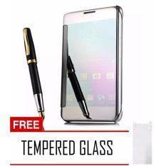Executive Case Samsung Galaxy J7 Prime Flipcase Flip Mirror Cover S View Transparan Auto Lock Casing Random Color Free Tempered Glass Terbaru