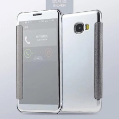 Case Samsung Galaxy J7 Prime Flipcase Flip Mirror Cover S View Transparan Auto Lock Casing Hp- silver