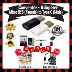 EXTRA BONUS !! Micro USB (Female) to Type C (Male) Adapter Metal - GRATIS Pelindung Kabel Lucu Unik & OTG Kabel Type C Konektor Usb Tipe-C Cable
