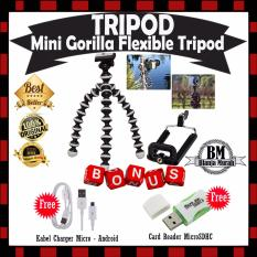 EXTRA HADIAH !! Flexible Mini Tripod For Camera / Smartphone Plus Holde U - GRATIS Kabel Charger Casan Micro Android & Card Reader MicroSD