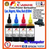 F1 Ink Untuk Printer Canon 100Ml Cyan Magenta Yellow Black 1 Set Original