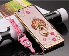 F3 Case Qzhi Transparan Glitter Kristal Floral Seri dengan Cincin Dudukan Ponsel Case untuk OPPO F3 (Gold Peacock) -Intl