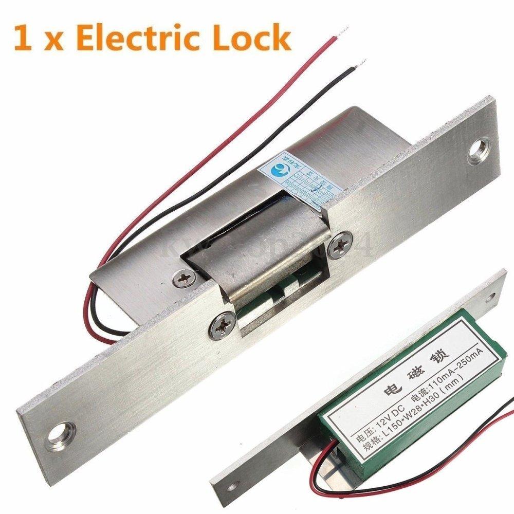 Gagal Aman Keamanan Tidak Ada Sempit Pintu Tipe Electric Strike Kunci Akses Kontrol DC12V-Intl