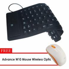FAK Keyboard Flexible Mini USB Hitam+ Free Mouse Wireles Advance W10