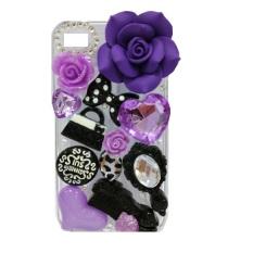 Fancy Casing Flower 3D Transparan Iphone 4 - Ungu