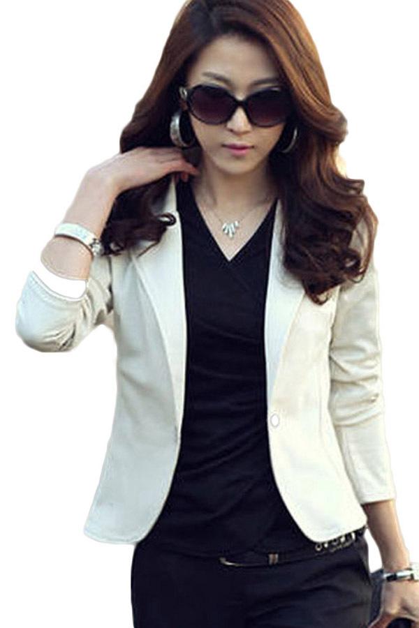 Fancyqube Baru Yang Menggenjot Elegan Trendi Wanita Kelepak Blazernya Didorong Setelan Bang Bang Pendek Panjang Baju Lengan Jaket Wanita Jaket Rak Putih