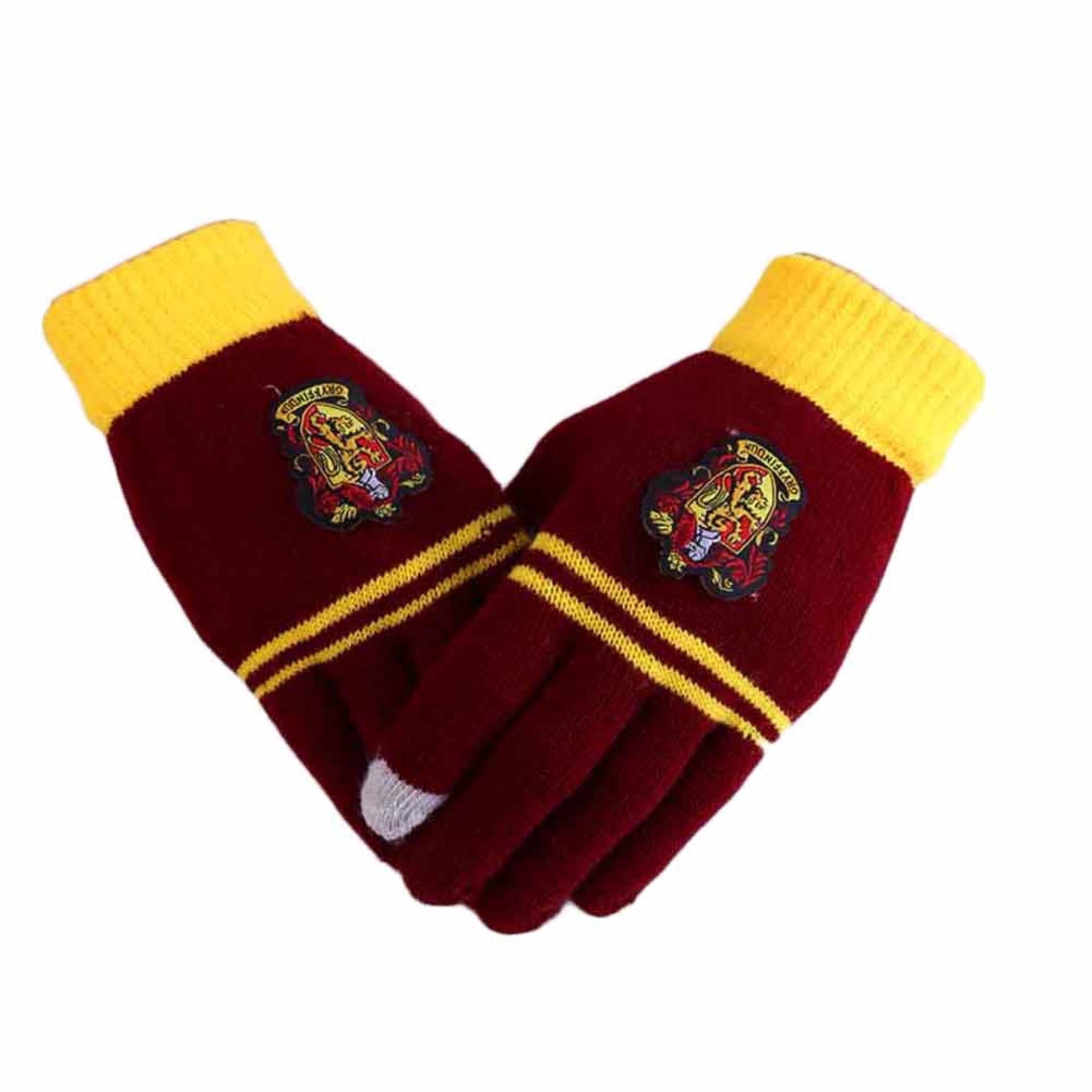 Jual Beli Online Fancyqube Harry Potter Karena Merajut Layar Sentuh Magic Sarung Tangan Gryffindor Lencana Sekolah Keempat Sarung Tangan Internasional