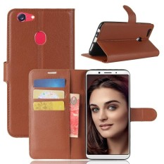 Flip Cover Oppo F5 Pu Leather Wallet Case Cokelat Murah