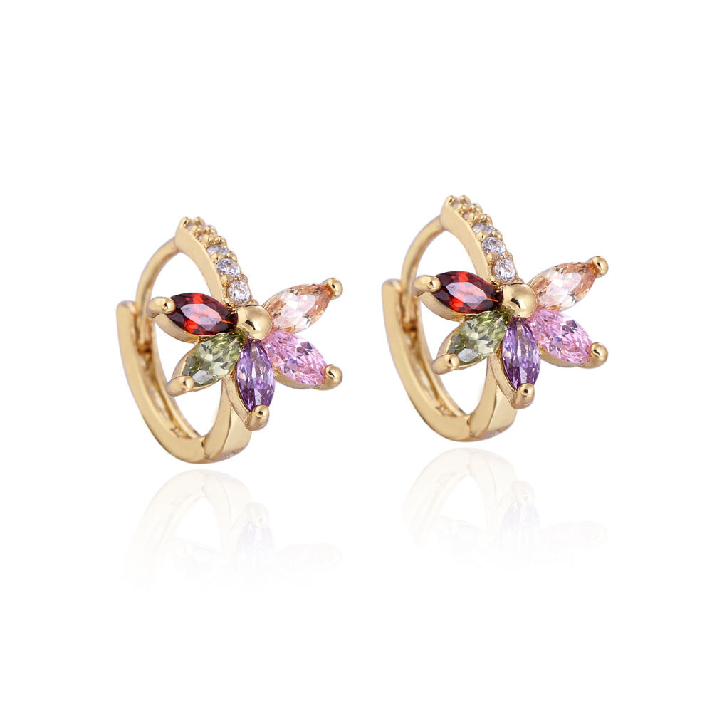 Jual Fashion 18 K Emas Berlapis Klip Telinga Anting Anting Dengan Warna Bunga Petal Zircon Not Specified Murah