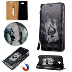 Fashion 3D Pelindung Berdiri Dompet Dompet Kartu Kredit Pemegang Magnetic Flip Folio TPU Soft Bumper PU Leather Ultra Slim Fit Case Cover untuk Huawei Ascend Y5 II-International
