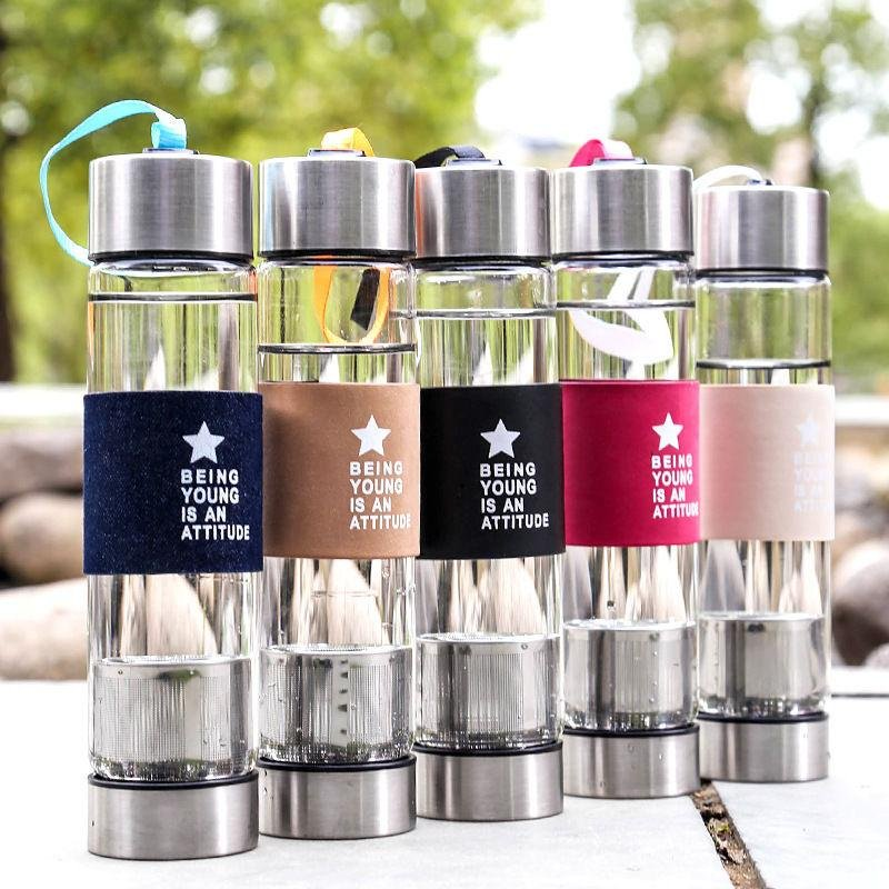 Review Fashion 450 Ml Air Botol Kaca Olahraga Teh Infuser Cover Travel Outdoor Mug Cup Intl