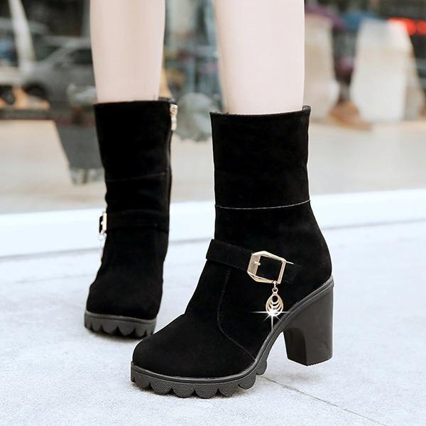 Fashion Baru Gemuk Manis Manis Manis Domba Wol Zipper Square Heel Ankle Sepatu Bot Musim Dingin untuk Wanita-Intl