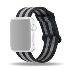 Harga Fashion Berwarna Woven Nilon Kain Penggantian Band Tali Gelang Pergelangan Tangan Sabuk Untuk Apple Watch Iwatch 42Mm Hitam Abu Abu Intl Seken